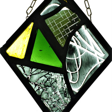 10. Fragments III, stained glass panel, 2019
