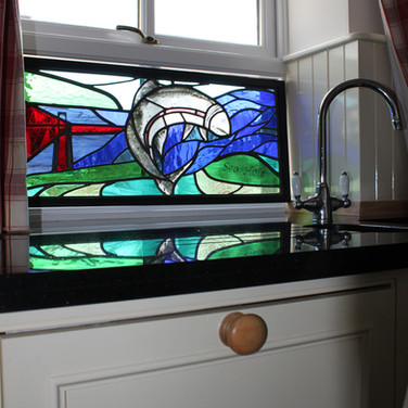 Stained glass panel inspired by leaping salmon fitted in private residence, Elie, Fife, 2014