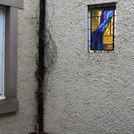 Stained glass situated in external courtyard, East Lothian, 2017