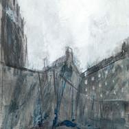 Castle Study III, mixed media on paper, 21cm x 40cm