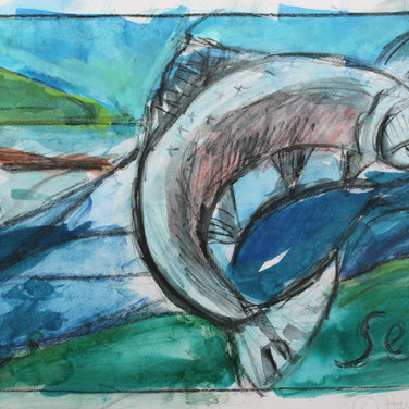 Sketch for salmon panel, 2014