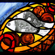 Loaves and fish panel fitted in Mobile Church, East Lothian, 2013