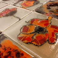 Loretto Junior School, Musselburgh, Poppy project with the Loretto Nippers (detail of fused glass tiles), 2014