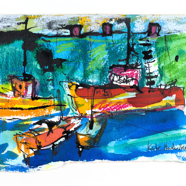 Port Seton Harbour, ink and pastel, 20cm x 15cm