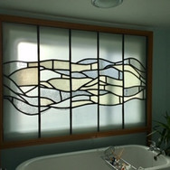 Leaded glass screen inspired by textures, private residence, Rockcliffe, Dumfries and Galloway, 1999