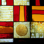 Stained glass panel inspired by symbols, fitted into wooden frame and installed in front of existing window, East Lothian, 2009