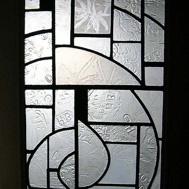 Leaded glass panel, inspired by leaves and textures, private residence, Edinburgh, 2010