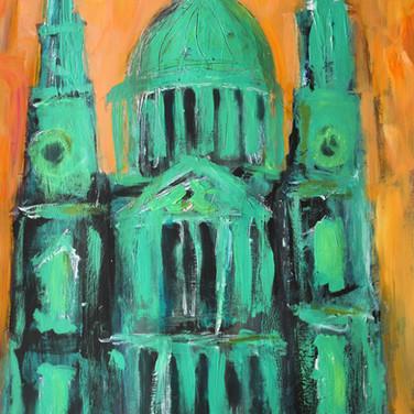 St Paul's, London, acrylic on card, 90cm x 71cm