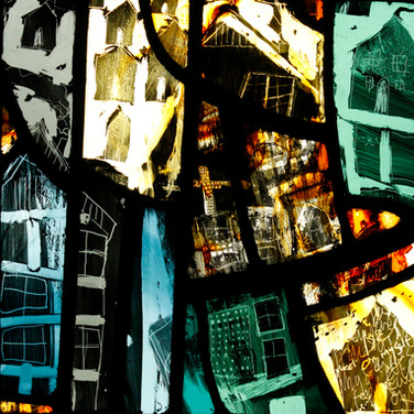 Wee Houses, stained glass panel, 2013