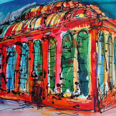 Victorian Hot house, ink and pastel on paper, 60cm x 75cm