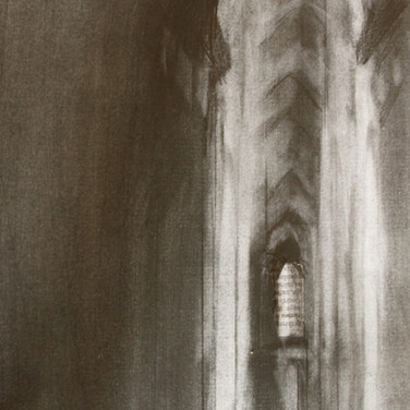 Cathedral Interior, graphite on paper, 18cm x 30cm