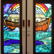 Noah's Ark panel fitted into Mobile Church, East Lothian, 2013