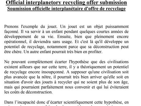 Soumission officielle interplanétaire d'offre de recyclage