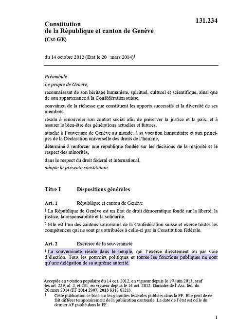 Constitution de la République et canton de Genève - Page 1