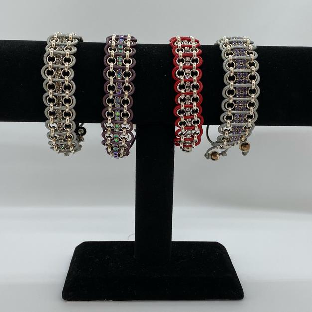 The Persnickety Calico Swarovski & Leather Bracelet