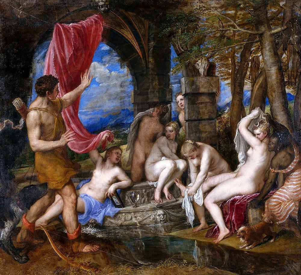 Tizians Artemis und Akteion mit ihrem Nymphen Gefolge