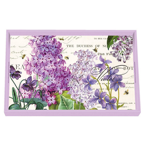 Lilac and Violets Decoupage Wooden Vanity Tray