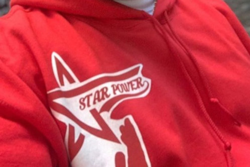 Hoodie with Hands Star Power logo