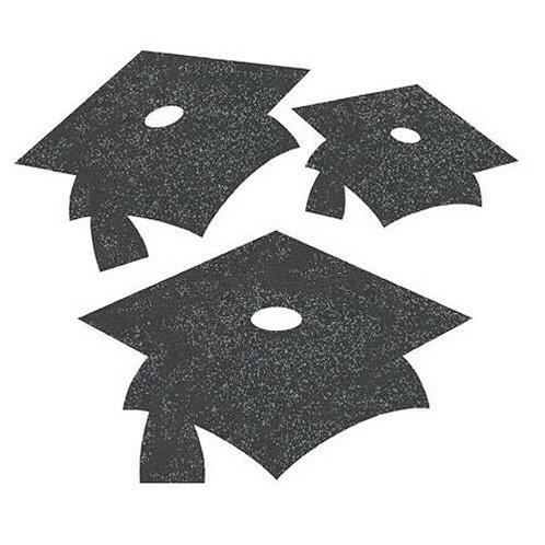 Mini Glitter Mortarboard Cutouts, Black
