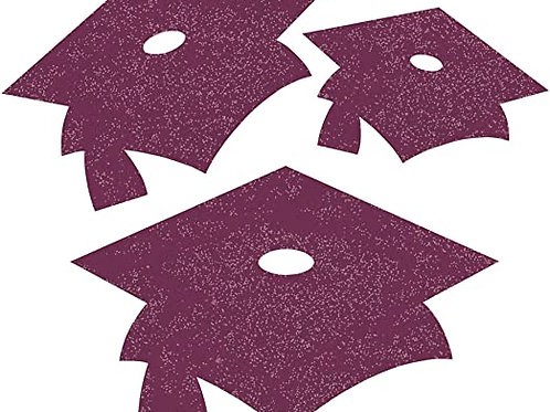 Burgundy Mini Glitter Mortarboard Cutouts