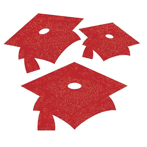 Mini Glitter Mortarboard Cutouts, Red