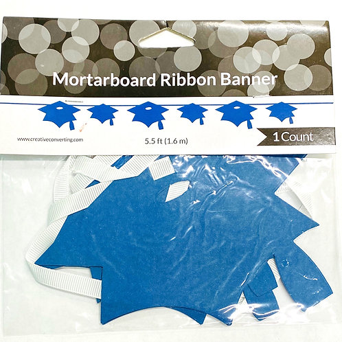 Blue Mortarboard Ribbon Banner