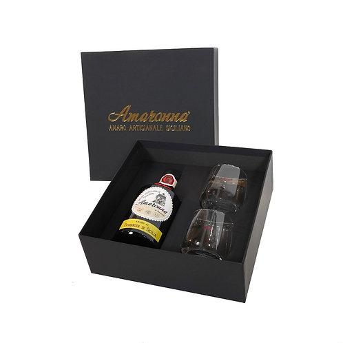 Confezione Regalo amaro Amaronna al Ficodindia di Sicilia  con 2 bicchieri