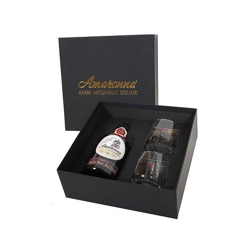 Confezione Regalo amaro Amaronna al Gelso Nero dell'Etna 28 % con 2 bicchieri