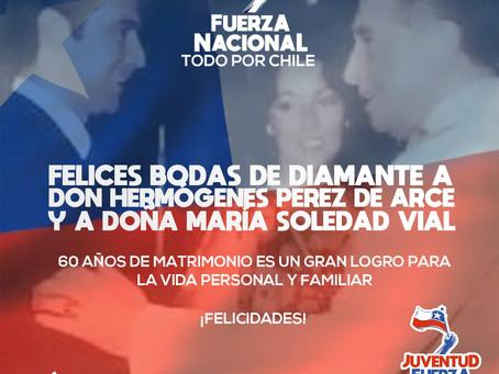 Fuerza Nacional le desea felices Bodas de Diamante a don Hermógenes y a doña María Soledad