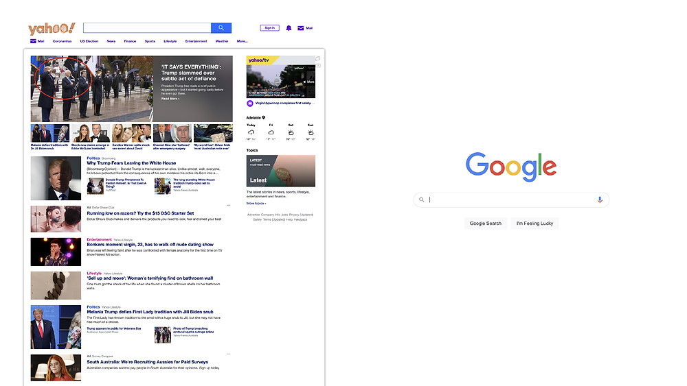 Yahoo vs Google Negative Space
