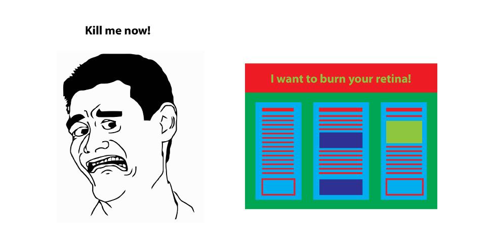 Bad colour schemes in scientific posters
