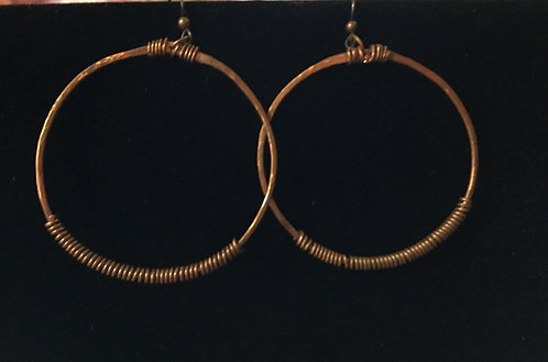 Copper Hoop Earrings with Coiled Wire