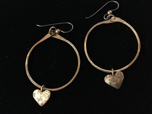 Copper Hoop Earring with Heart Charm