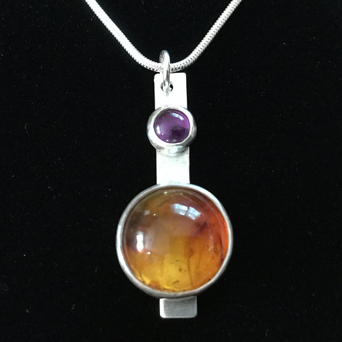 Amber and Amethyst Pendant