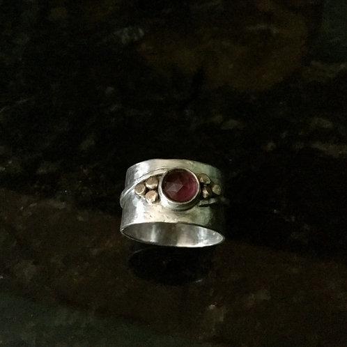 Rose-Cut Rhodolite Garnet Ring