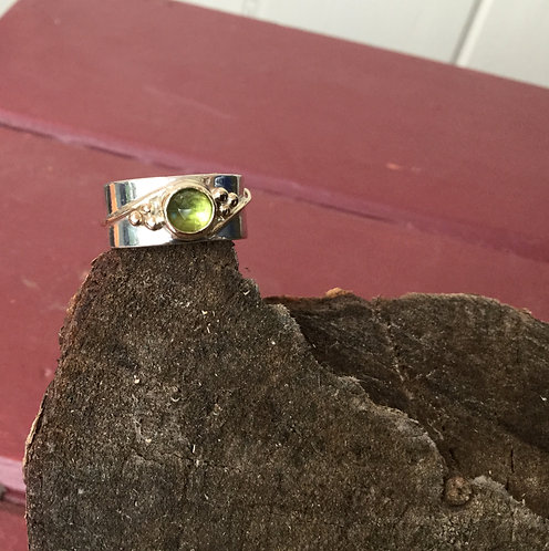 Sterling Silver Peridot Ring with14k gold