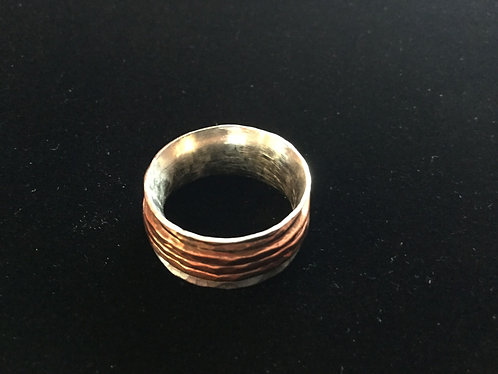 Silver Spinner Ring with Copper Bands