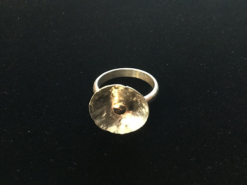 Sterling Silver Ring with 14k Gold bead