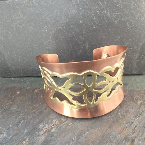 Copper and Brass Cuff handmade forged copper cuff