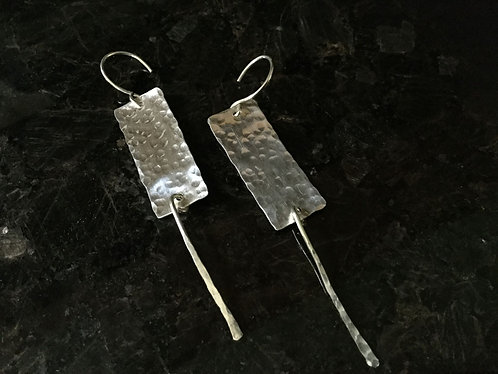 Hammered Silver Dangle Earring