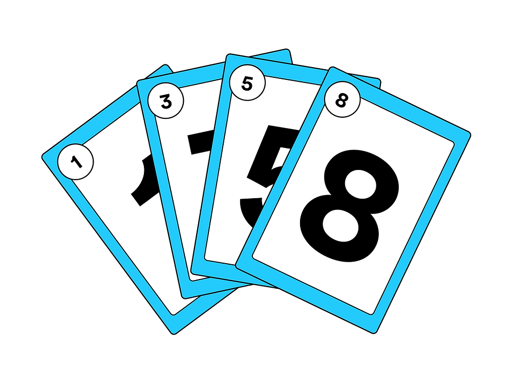 4 cards with the numbers 1,3,5, and 8 on them