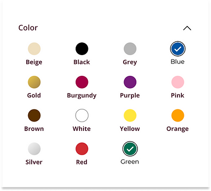 The color selector for a custom occasion card.