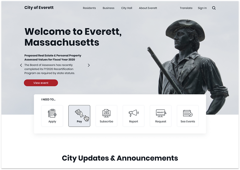 The City of Everett homepage designed by Neuron