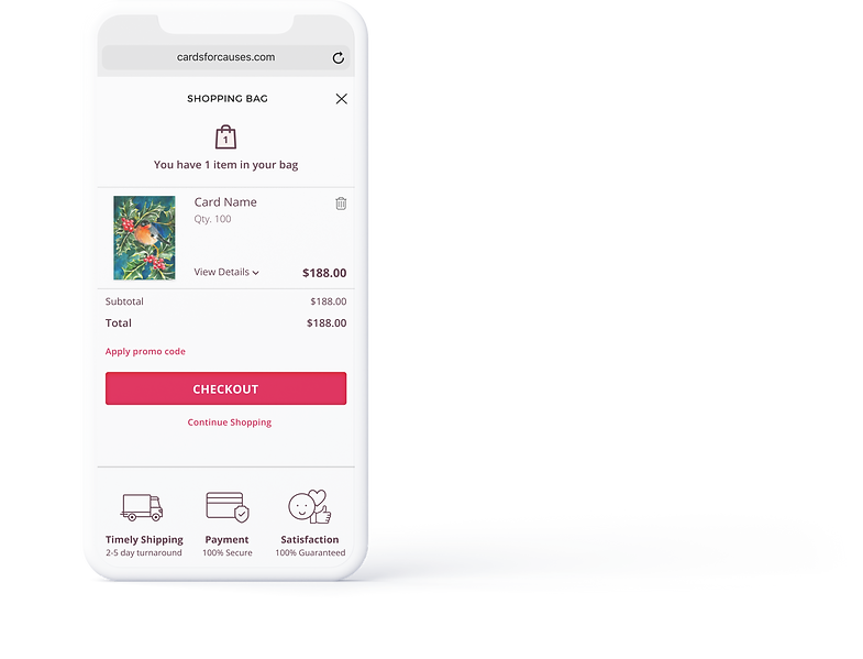 Cards for Causes checkout flow user interface.