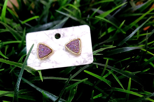 The Everyday Triangle Stud- in a Gold Finish with a Lavender Drusy Center