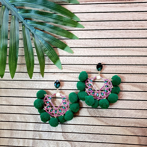 ChaCha Poms-Emerald and Fuchsia