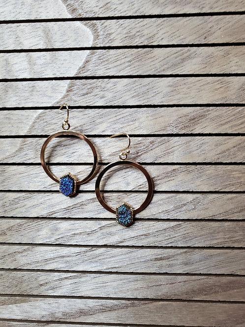 Drusy Gold Hoop Earrings
