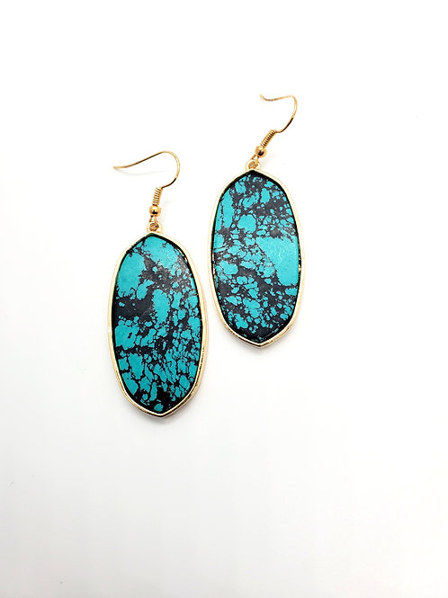 Paint the Town- Turquoise Marbled  Dangle with Gold Finish
