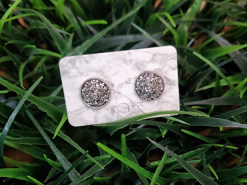 The Everyday Stud- Pewter Finish with a Silver Sparkled Center