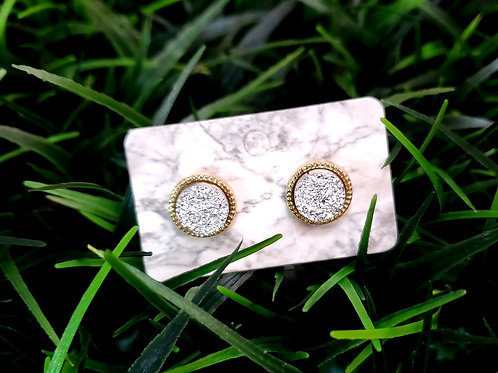 The Everyday Stud- in a Gold Finish with an Iced Drusy Center